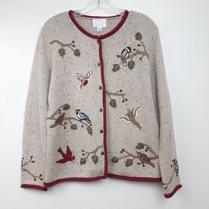 Hand Embroidered Birds Linen Wool Cardigan Sweater